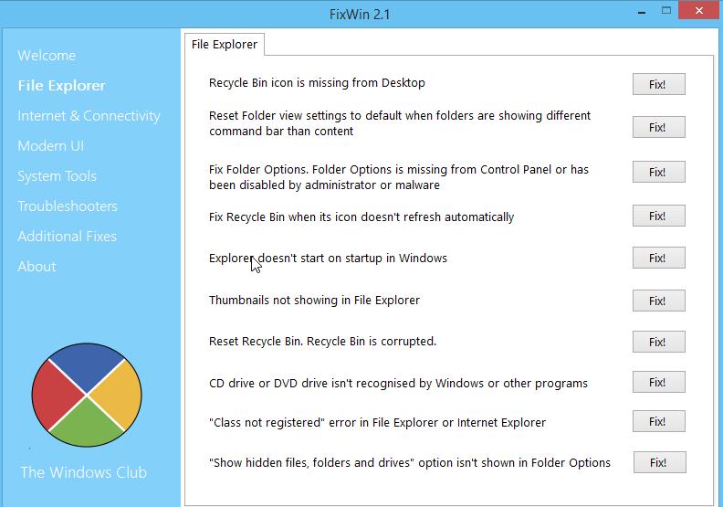 FixWin: утилита для решения многих проблем в Windows 8.1