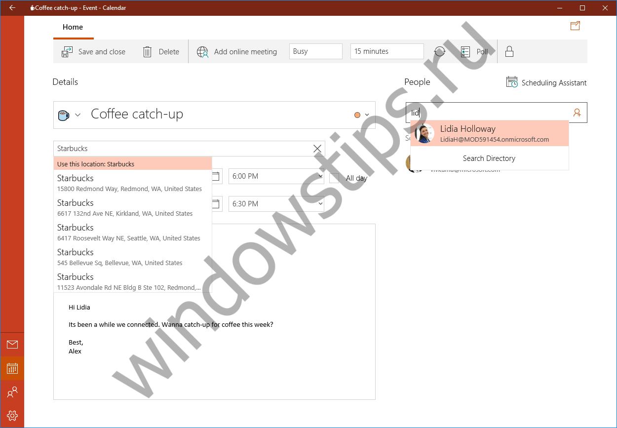 Microsoft анонсировала обновление для приложения «Почта и Календарь» в составе Windows 10