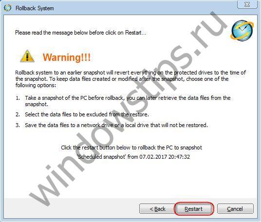 Откат Windows к снапшотам с помощью бесплатной программы RollBack Rx Home Edition