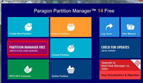 Программа для разделения жесткого диска Paragon Partition Manager 14 Free