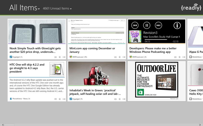 Readiy – полнофункциональный клиент Feedly для Windows 8 и RT