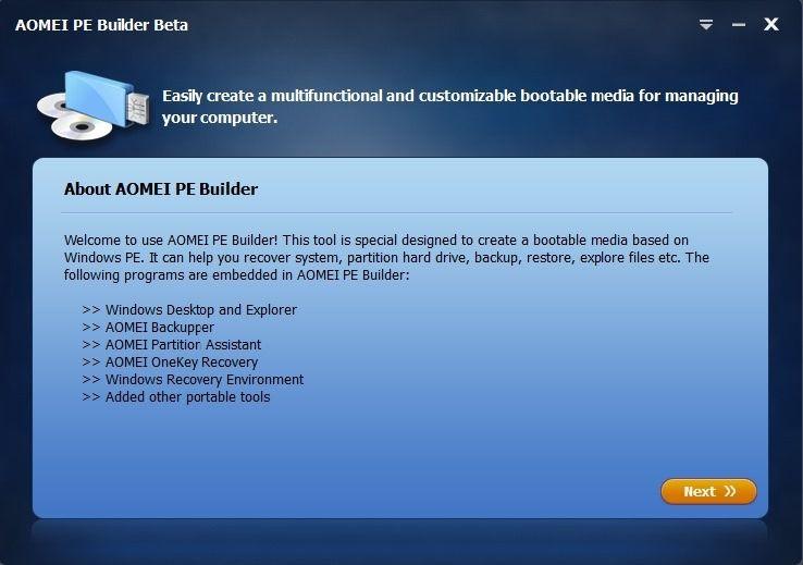 Бесплатный PE Builder от AOMEI