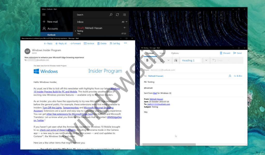 Приложение «Почта и Календарь» в Windows 10 получило поддержку интерактивных уведомлений (Fast Ring)