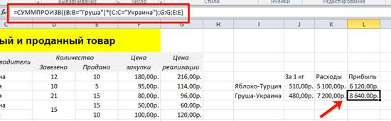 Примеры функции СУММПРОИЗВ в Excel