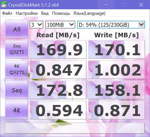 Программа CrystalDiskMark: тестирование скорости чтения и записи жестких дисков