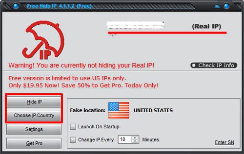 Программа для смены IP адреса Free Hide IP