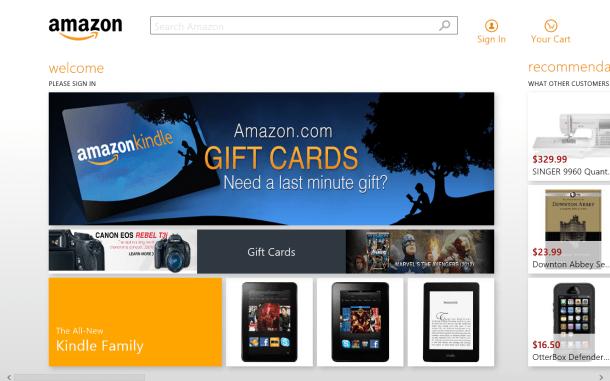 Шоппинг в магазине Amazon с официальным приложением для Windows 8