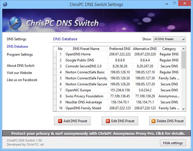 ChrisPC DNS Switch – простое и быстрое переключение между популярными DNS-серверами