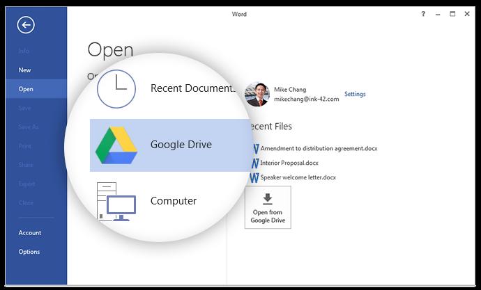 Google выпустил плагин для доступа к Drive из Microsoft Office