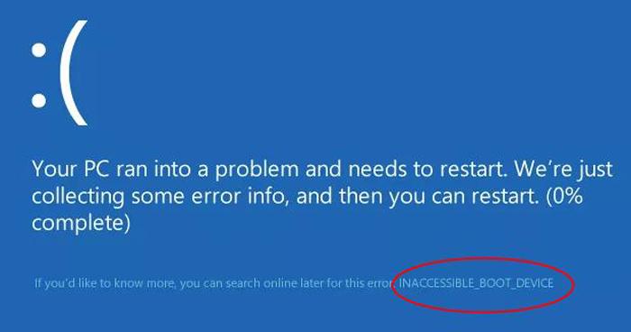INACCESSIBLE_BOOT_DEVICE при загрузке Windows 10