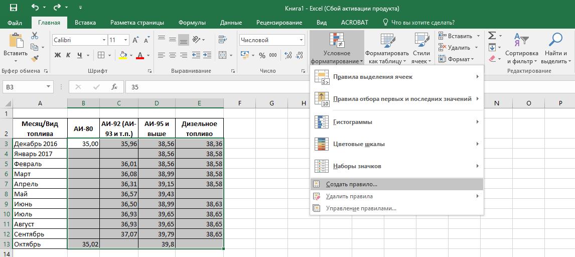 Изменение цвета ячейки в зависимости от значения Excel