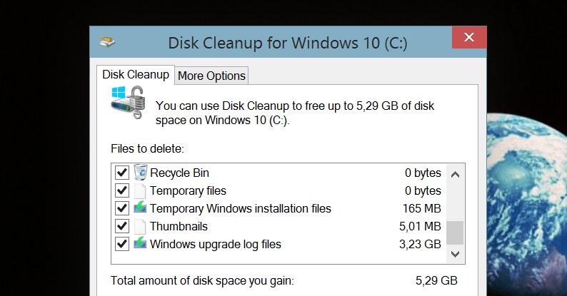 Как освободить более 5 Гб пространства после обновления Windows 10
